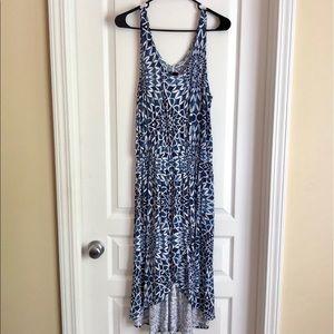 GAP Blue and White Sleeveless Hi-Low Dress - Sz M